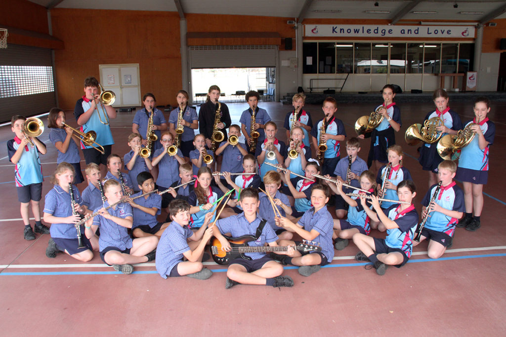 St Mary's Catholic Primary School Concert Band ready for St Mary's School 25th anniversary fete.