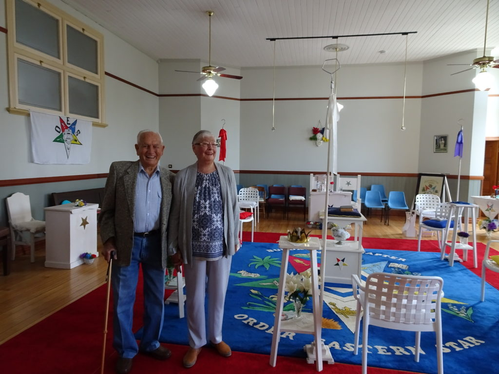 Chaplin Gordon Rose and his wife Ivy in the OES Room of the Bundaberg Freemasons Building during the 2019 Open House.