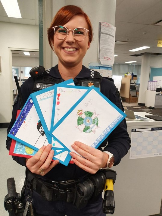 Special delivery: Constable Lucy Buchanan with cards from class 4P