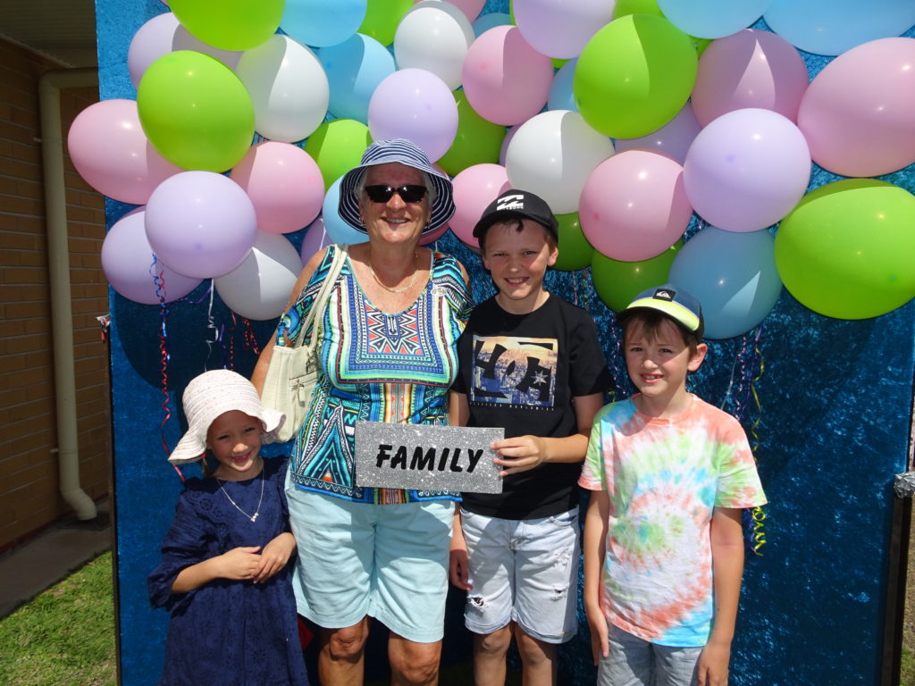 Sandy German enjoying the morning at St Mary's Fete with her grandchildren Lilah, Slater and Ryder German