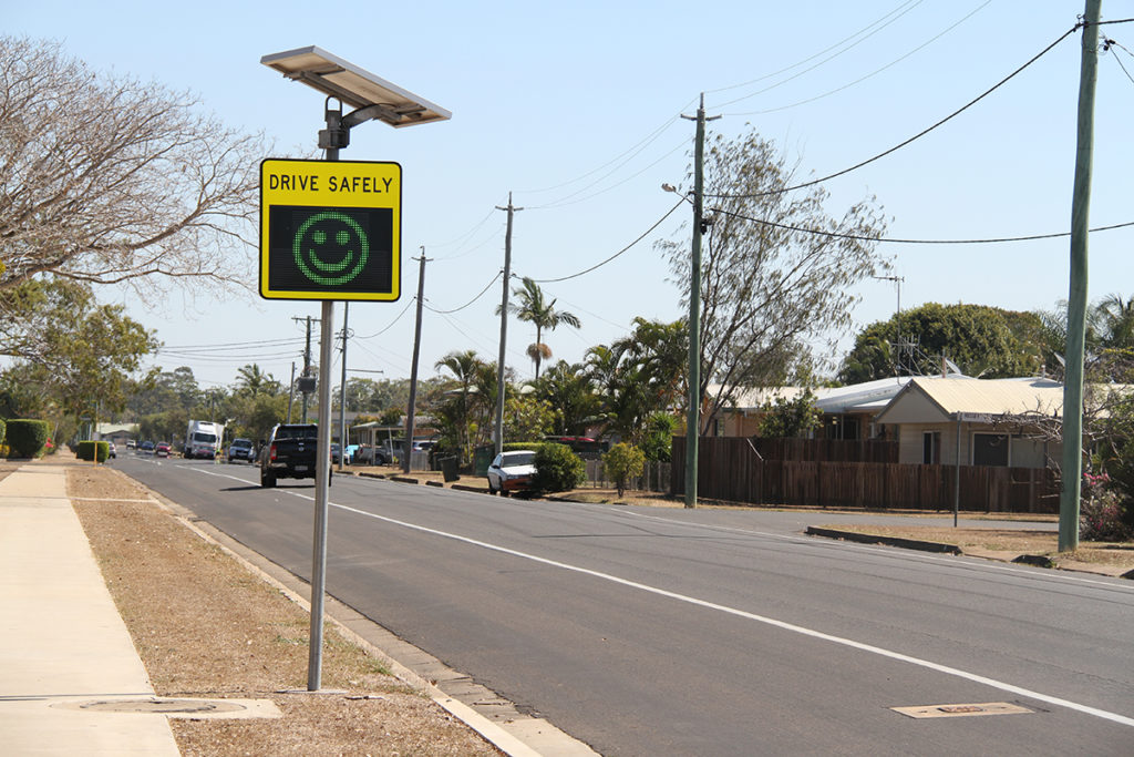 SAFE DRIVING: One of the smiley face signs on Dunn Road, Avenell Heights.