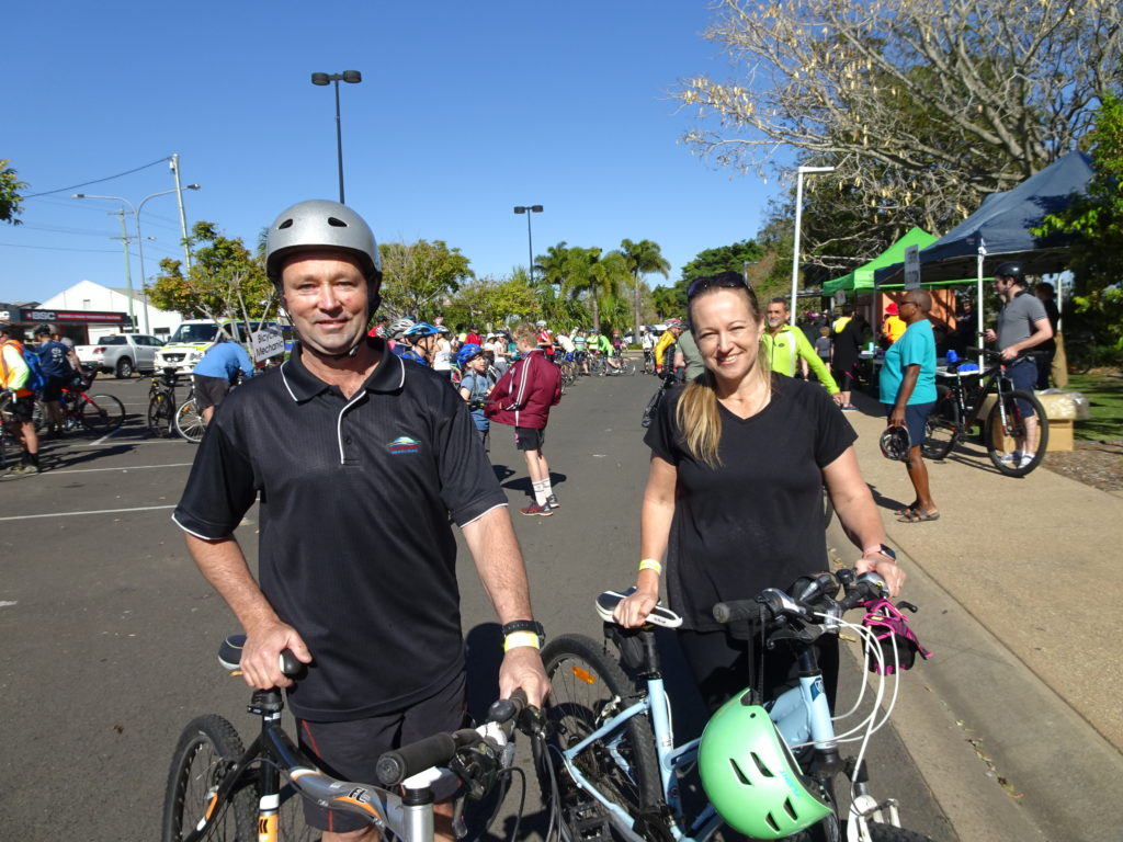 Bundaberg Region Councillor Jason Bartels along with his wife Jillian ready to take part in City to Coast Community Ride.