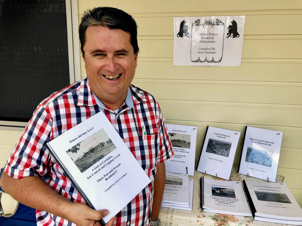 Childers history buff Scott Stedman launched his ninth publication of history of the former Isis Shire at the Cordalba State School 125th anniversary celebrations last Saturday.