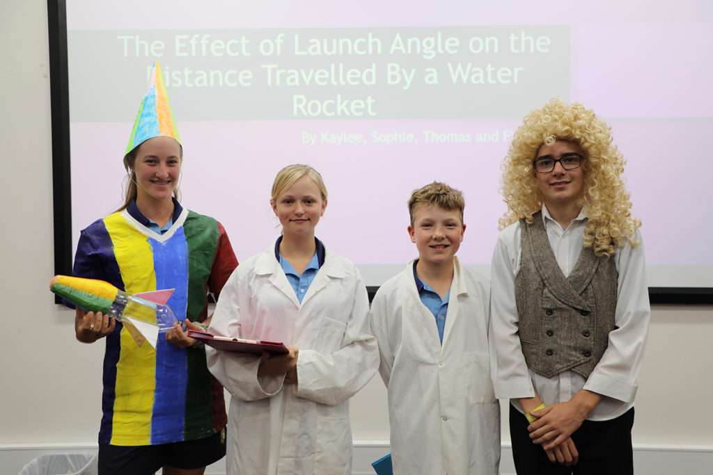 Wonder of Science students Sophie Moore, Kaylee Copithorne, Fletcher Churchill and Thomas Baker.