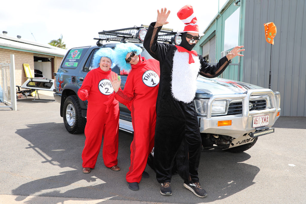Janice Wharton, Debbie Knowles and Geoff Knowles are team Cat in the Hat and will be travelling 5,000km for Camp Quality's esCarpade event from tomorrow.