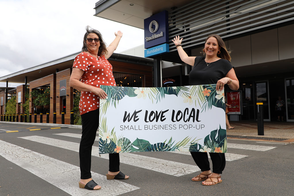 Sharon Grimsey and Anita Cooney get ready for the Stockland Bundaberg Artisan pop up markets.