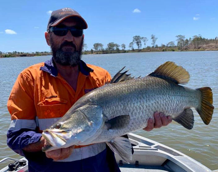Darren Duffy with a barra from the Burnett River.