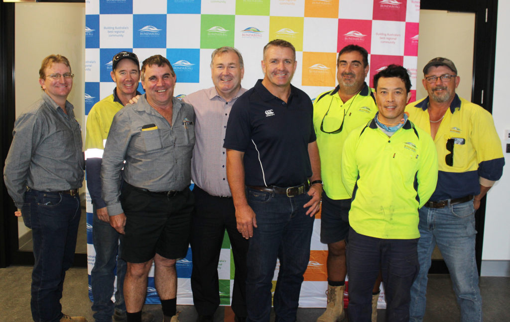 Front Row Safety: Bundaberg Regional Council staff with Mayor Jack Dempsey and Shane Webcke.