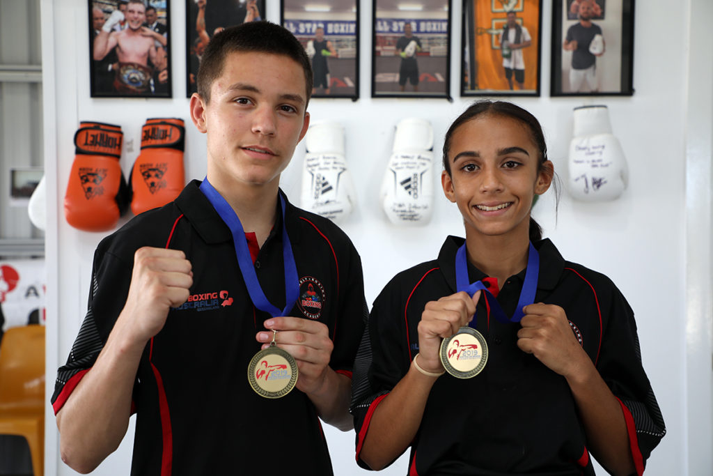 "Tyrone ""Tbone"" Owen and Aaliyah Watson from Deadly Boxing Academy in Bundaberg recently won their Australian National titles."