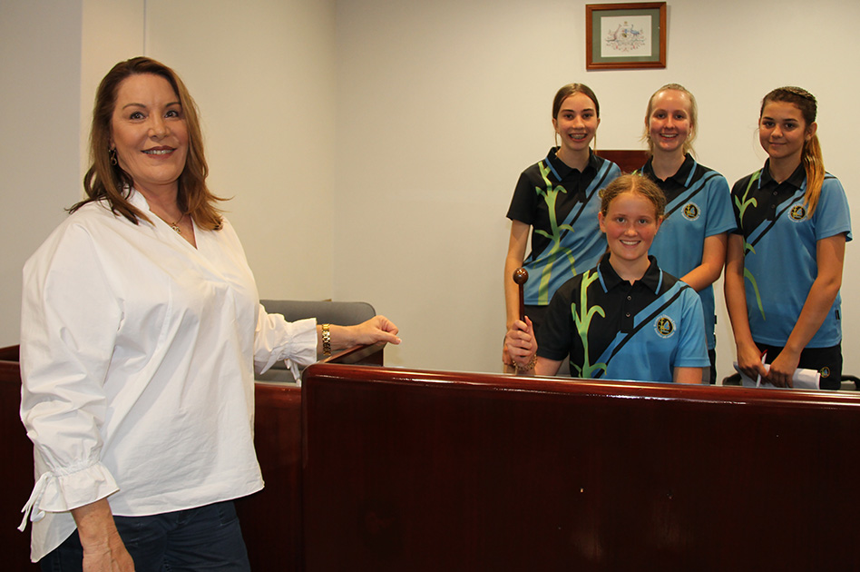 Cr Helen Blackburn with Bundaberg Christian College students Libby Jordan, Amelia Muller, Mackenna Otto and Tara Langdon.