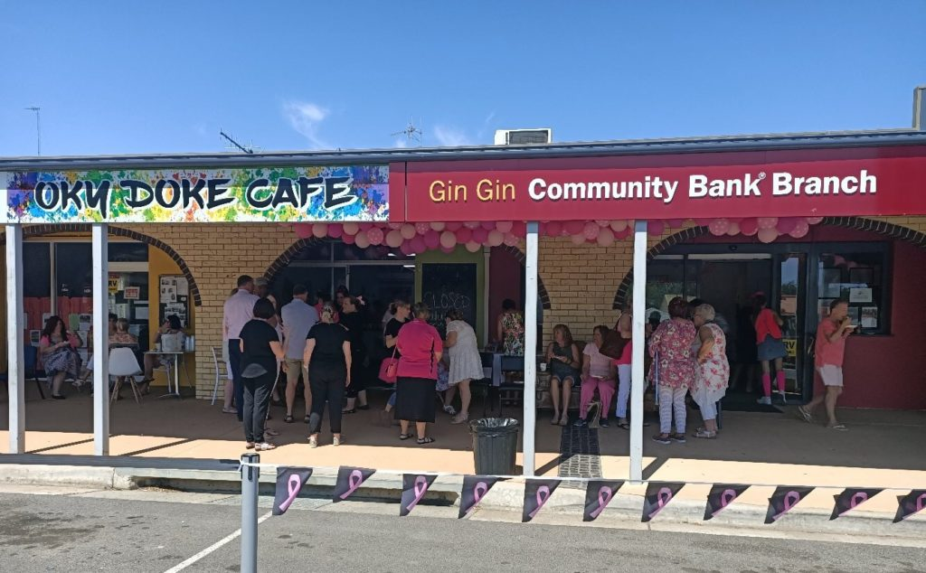 The Pink Ribbon Day breakfast with Oky Doke Cafe and Gin Gin Community Bank.