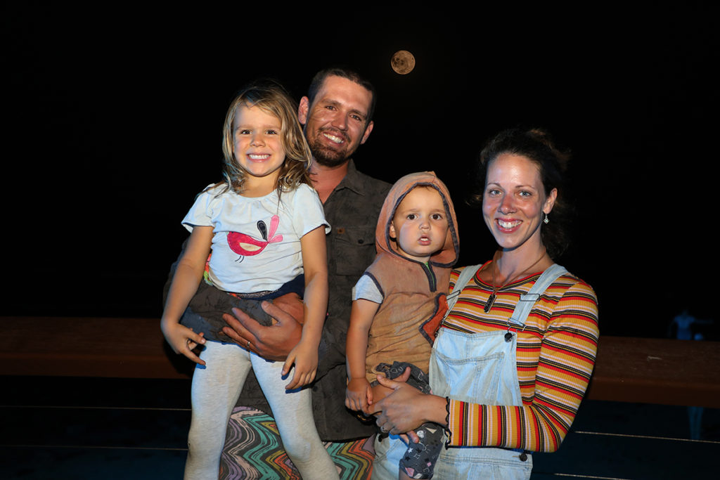 Rhys, Michelle, Sunnie and Yeti Kassulke have a family fun evening at the Milbi Festival event in Bargara for Turtle Hour.