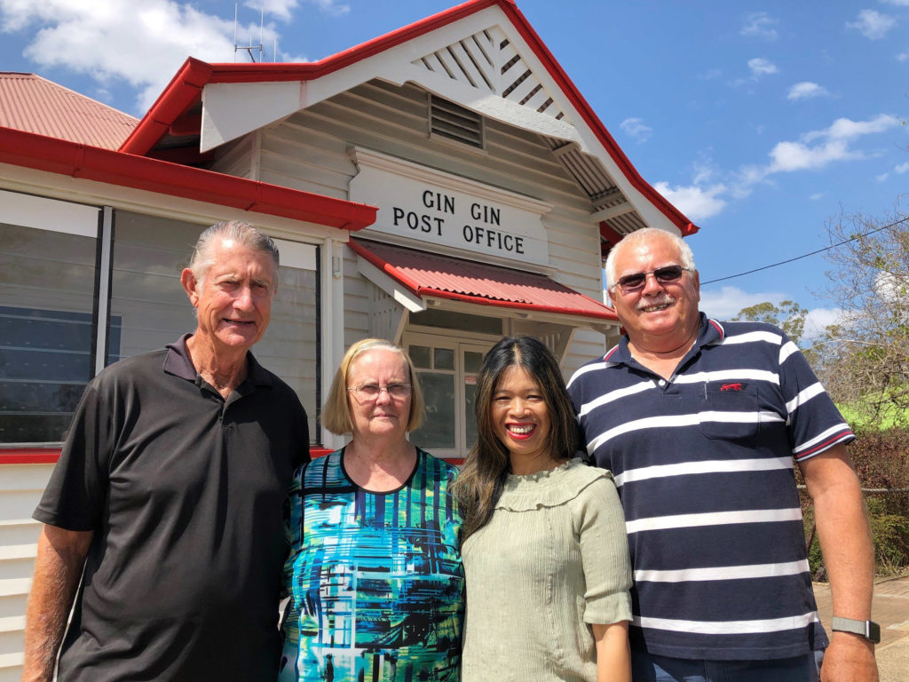 Eddie and Sally with the new owners of the Gin Gin Post Office Brian and Rika