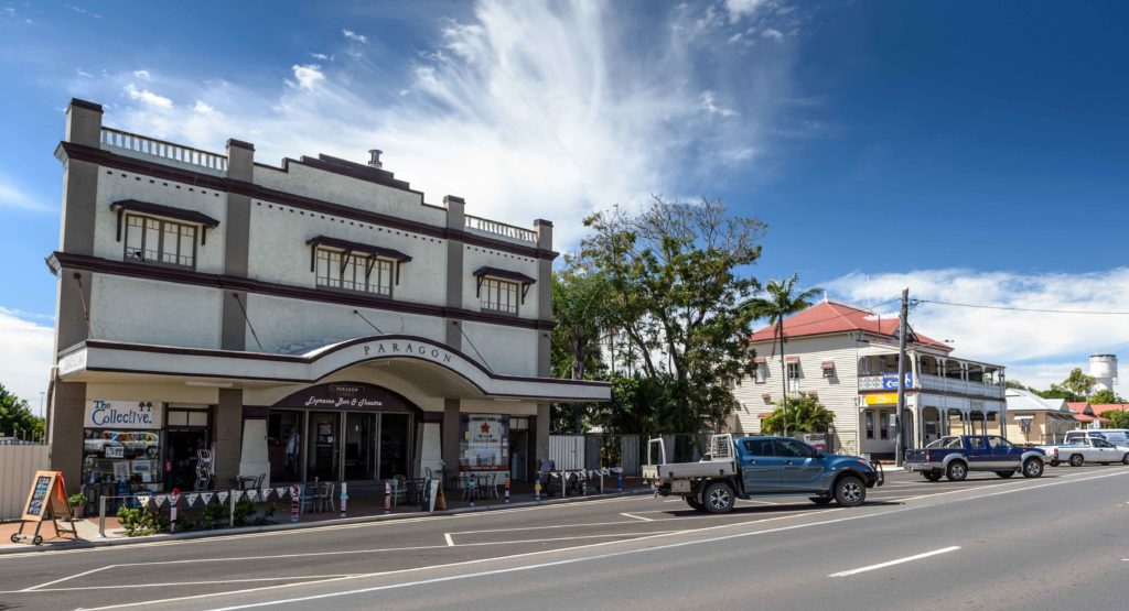 The Paragon Theatre is one of many heritage listed buildings in the main street of Childers.