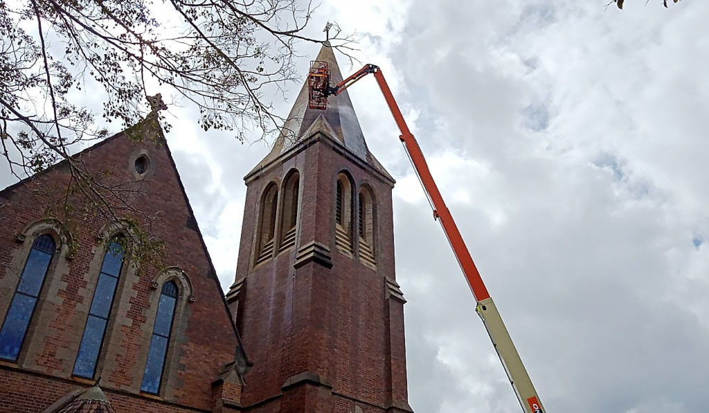The Christ Church steeple has been undergoing a clean.