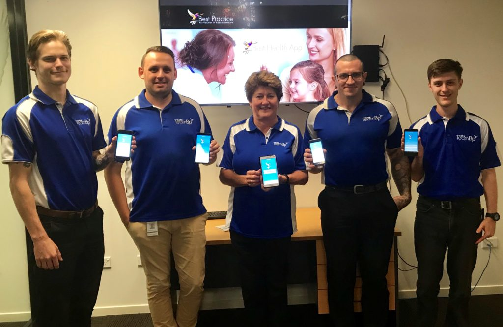 Some of the Bundaberg Best Practice team who have worked on the Best Health App here in Best Practice Software's Bundaberg Operations Hub: Damon Ramage, Christopher Bone, Julie Dietrich, Sean Maher and D'Arcy Piltz