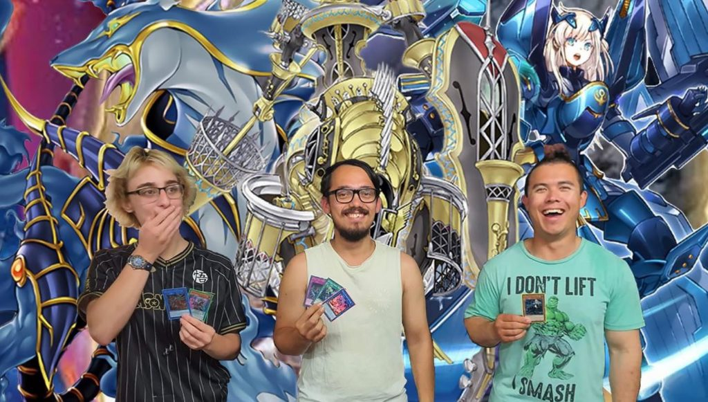 First team member Ben Greco with Indi Watts and Wyman Tyne, creators of the local Yu-Gi-Oh card game meet ups.