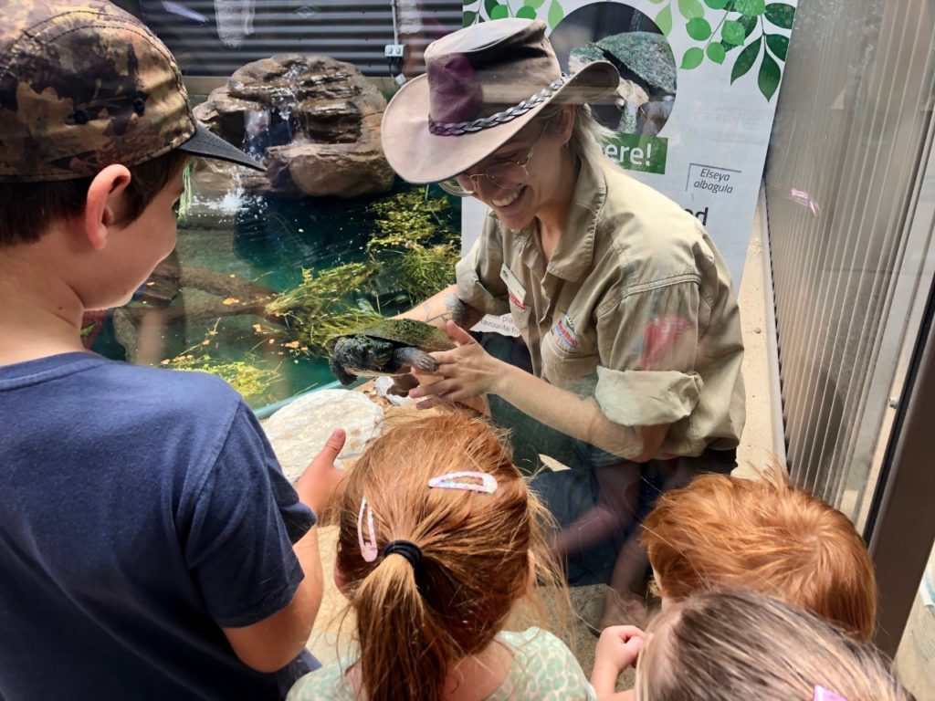 Zoo keeper Aimee Diamond shows off Alby to the crowd