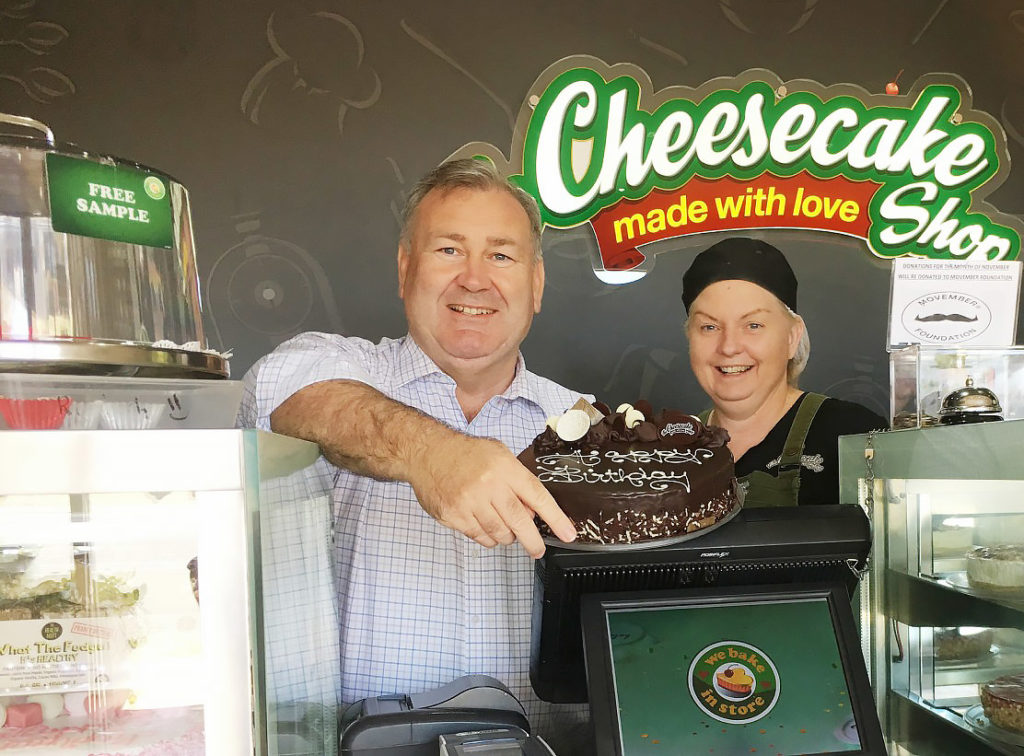 Mayor Jack Dempsey with Glenda Dunphy at The Cheesecake Shop Bundaberg.