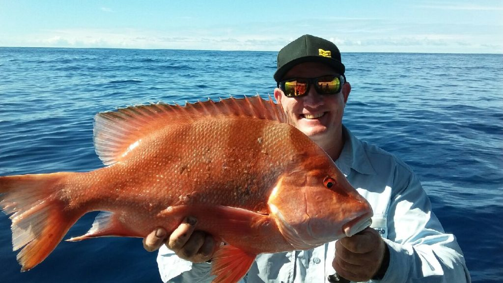 Dale Smith with the red emperor he caught off Bundaberg on his last trip out.