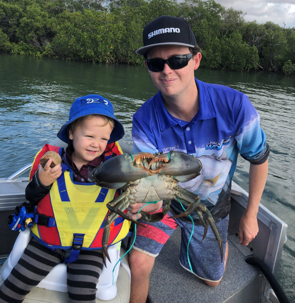 Mitch Beyer and young Lawson Morgan wit the nice mud crab the picked up last weekend.