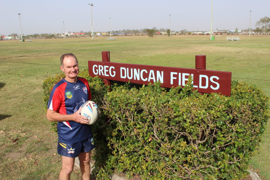 Greg Duncan stands proudly at Greg Duncan Fields.