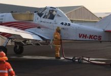 SES crew filling one of the 114 planes on Tuesday
