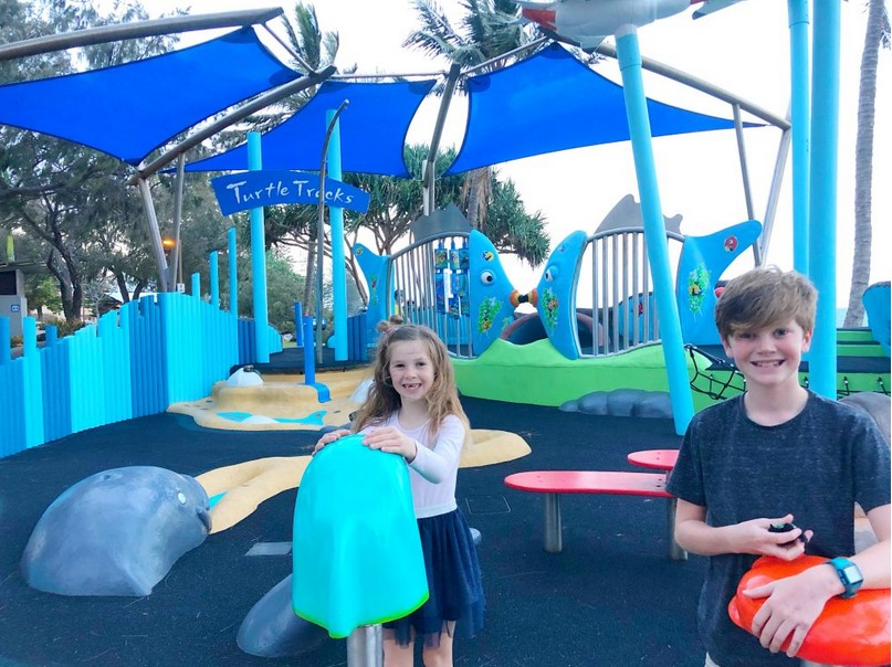 Having a great time at the Bargara turtle playground.