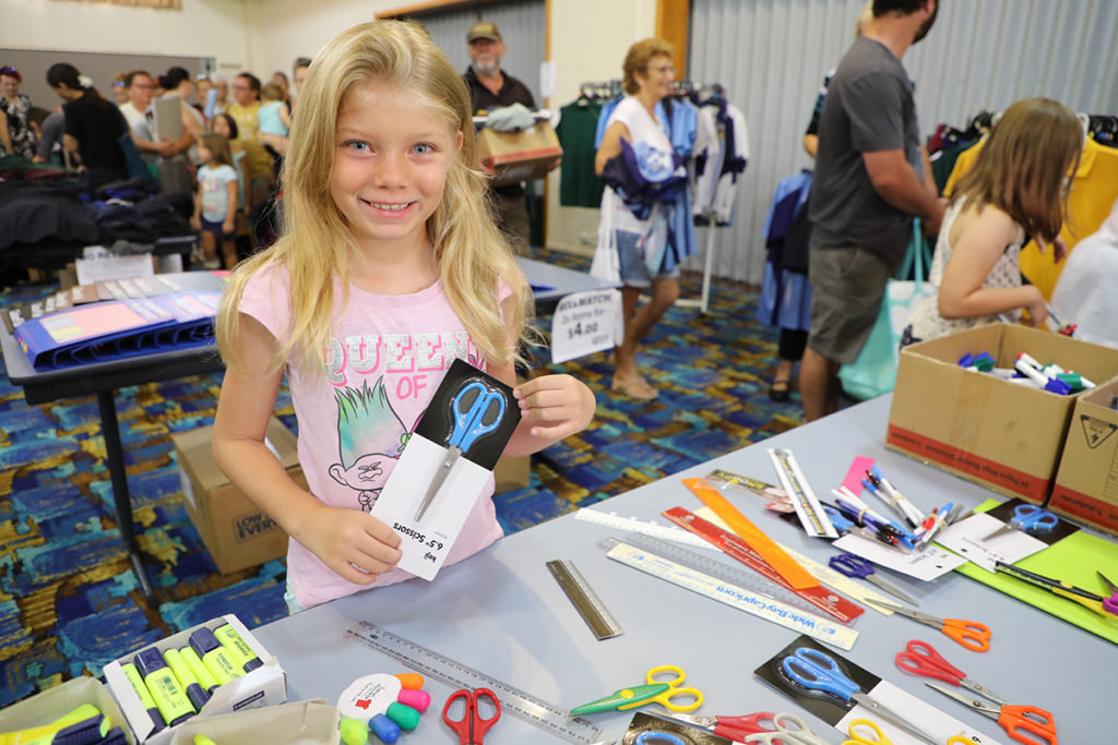 Elouise Ramage looking for stationary at the School Savvy Program.