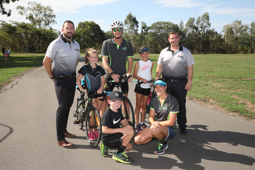 Christopher Makin, Tessa Millbank, Jack Milbank, Ashlee Kersnovske, Jason Moyle, Baylin McKay and Rebecca Jenner at the Bundaberg Criterium Track getting in some fitness activity before the Aquathon event on Sunday.