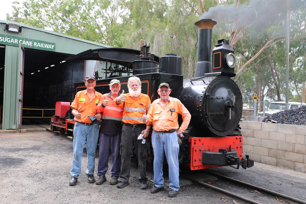 Phil Partridge, Alan Edwards, Ross Driver, Greame Timson with the Stream train at the Botanic Gardens.