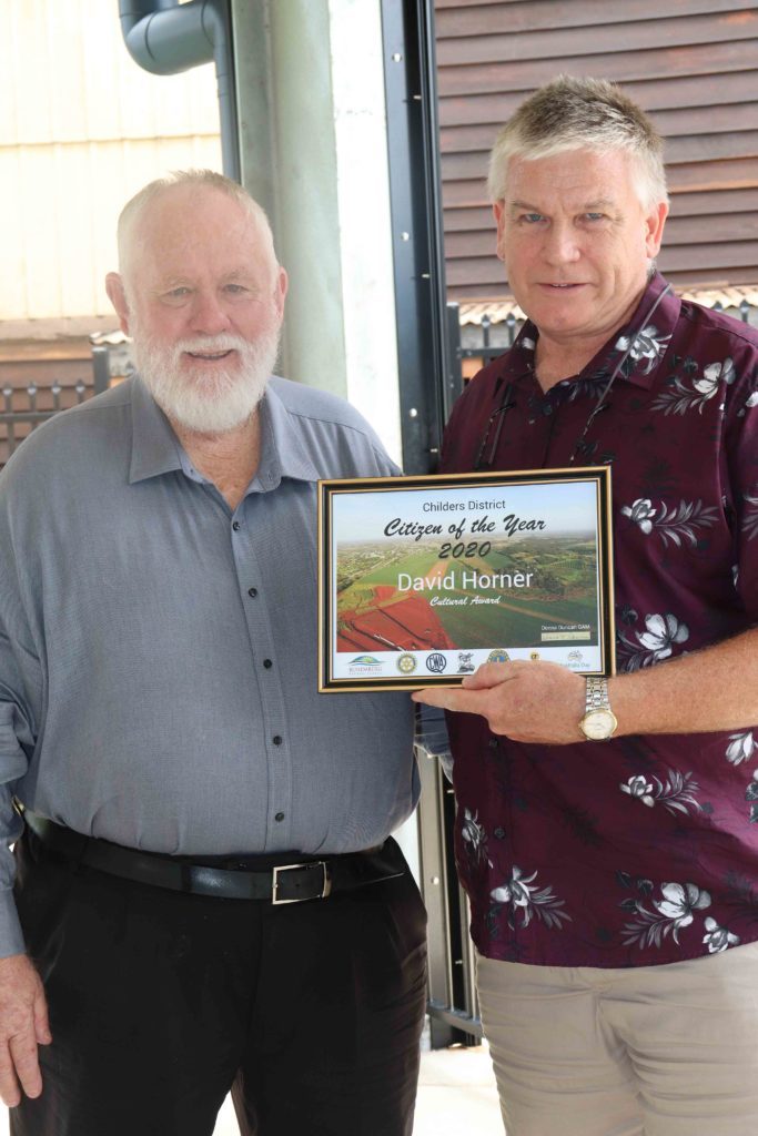 Award winner David Homer with Cr Trevor. Australia Day