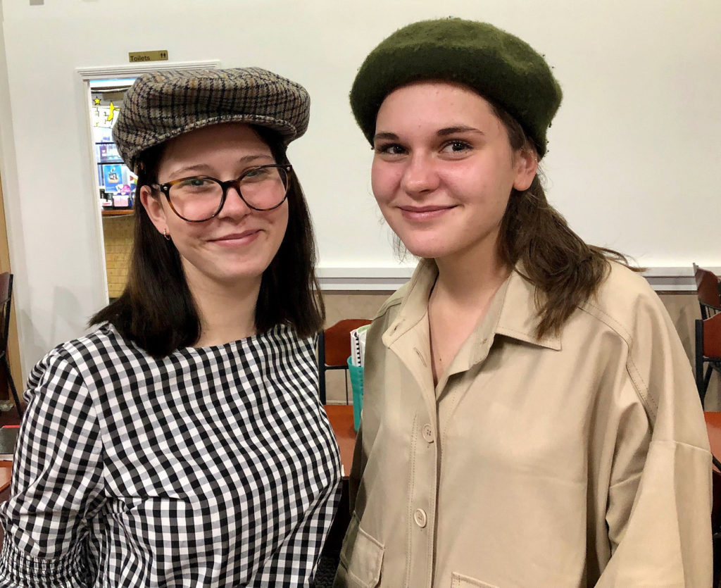 Renae Anders (left) and French Exchange student Sidonie Sourice at a recent Hat Night event held by the Rotary Club of Childers.