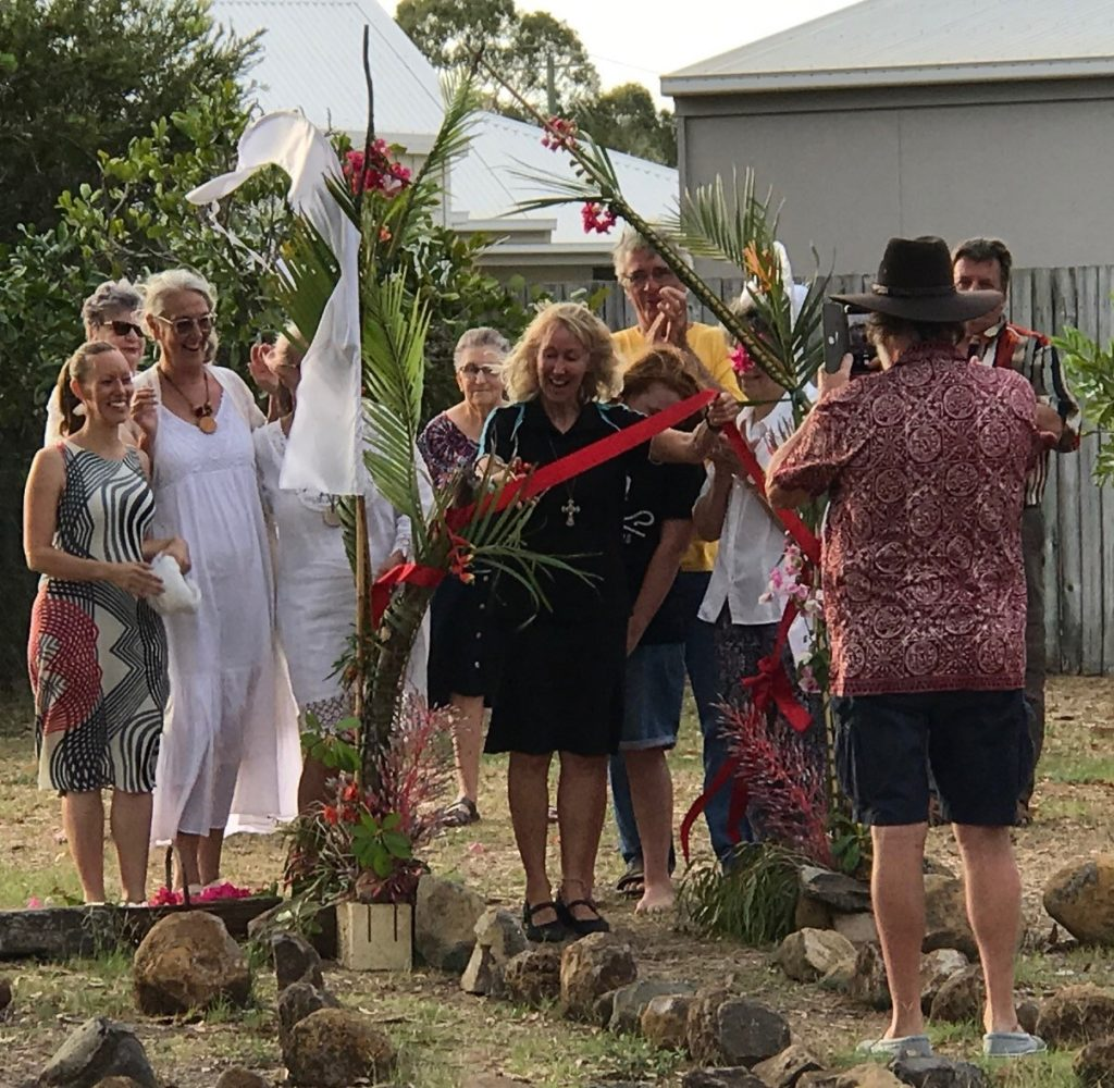Rev Jenny Lynn cuts the ribbon at the Bargara Labyrinth