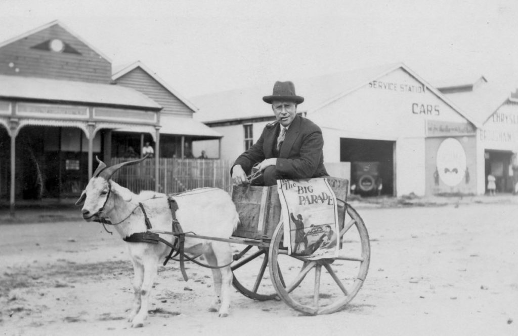 Man in a goat-drawn cart ca1925 form the Picture Bundaberg files.