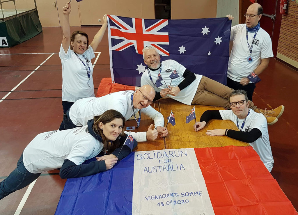 """Vignacourt's Michel Trouillet (second from left) with other members of the """"Walk for Australia"""" expressing their strong solidarity with Australia and the Bundaberg Region."""