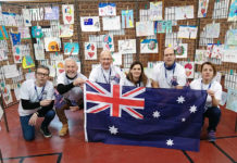 """Vignacourt's Michel Trouillet (third from left) with other members of the """"Walk for Australia"""" expressing their strong solidarity with Australia and the Bundaberg Region."""