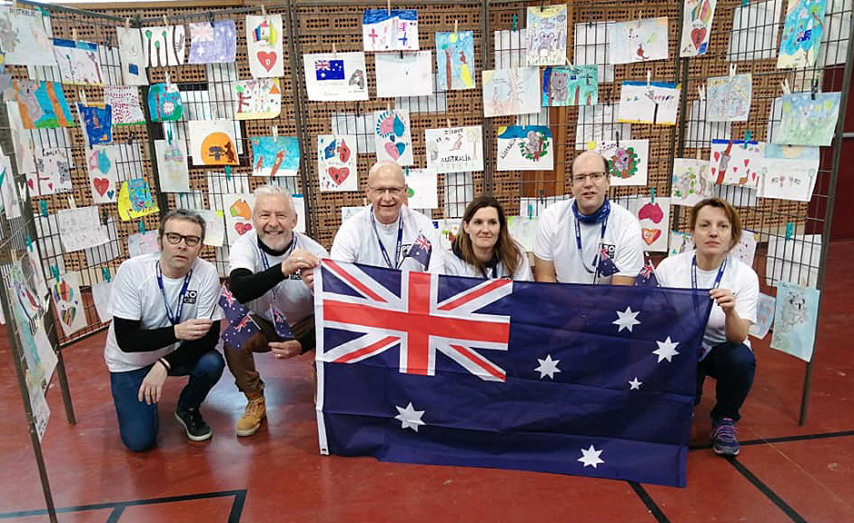 "Vignacourt's Michel Trouillet (third from left) with other members of the ""Walk for Australia"" expressing their strong solidarity with Australia and the Bundaberg Region."