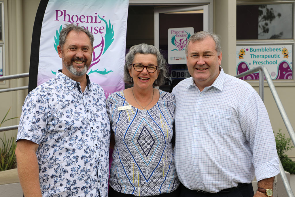 Director of Services Jason Rushton,  Chair Bev Devlin and Mayor Jack Dempsey at Phoenix House.