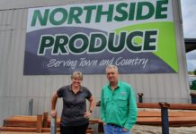 Event Manager Ainsley Gatley and Brian Gordon of Northside Produce