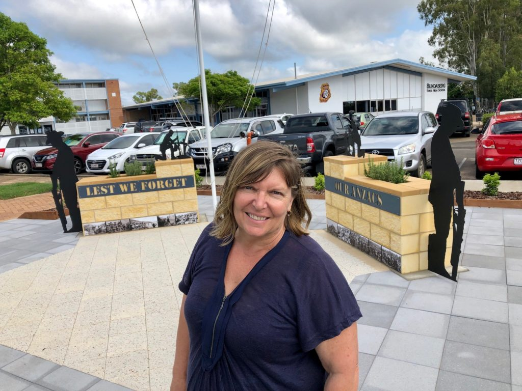 Principal Karen McCord is proud of the newly installed ANZAC memorial at Bundaberg State High School.