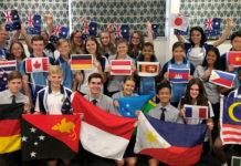 Flags of the world. Students at Bundaberg State High School who are either exchange students or from families who have resettled in Bundaberg, show flags from many of the countries represented by students at the school.