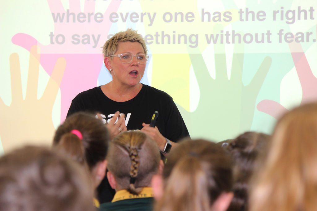 Queensland's Australian of the Year (2020) Rachel Downie discusses her anti-bullying, abuse and hate website STYMIE with Grade 7 students at Isis High School this week.