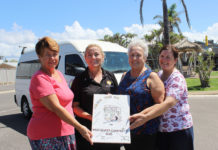 Key players in the drive to source a new community bus for Woodgate Beach residents are (from left) Pauline Greer (Secretary), Debbie Lindeberg (Woodgate Beach Hotel manager); Margaret Featherstone (President) and Julie Cleave (Hotel staff member). The hotel provided fund raising opportunities and its older commuter bus for the extended use of Woodgate Beach residents while the new bus is currently on order.