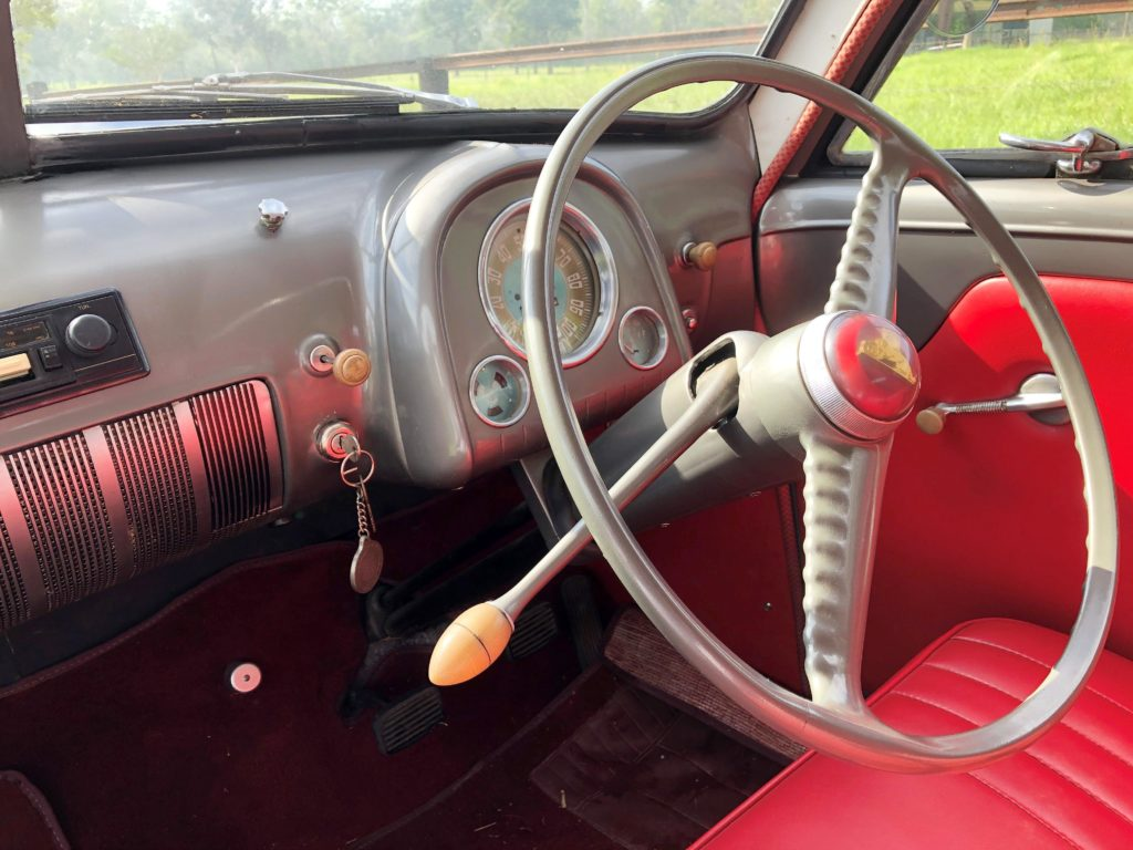 """Three on the tree""! The manual column shift which provided three forward gears and one reverse gear. The configuration would have today's younger drivers scratching their heads."