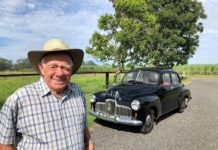 Ray Cole with his 1952 FX Holden. Ray, like many other Holden lovers is saddened by the demise of General Motors Australian car manufacturing plant.