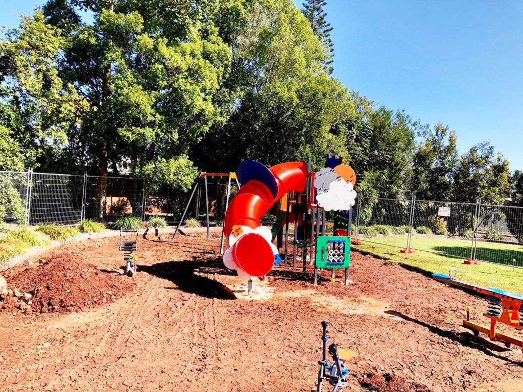 Work is progressing on the installation of the new play equipment.