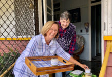"Clients such as Marge Gallagher see the meals delivery service as being made by ""angels on wheels"". Wendy Davies is pictured providing Marge with her meals."