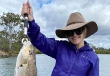 Natalie Curtis with the ripper grunter she caught last weekend.