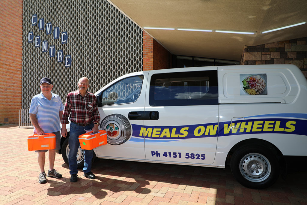 Ron Purkis and Jeff McColl delivered Meals on Wheels to the Bundaberg Council offices.